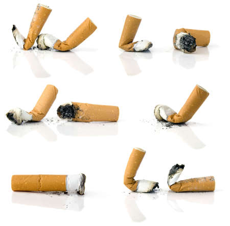 vices: Cigarette butts isolated on white background