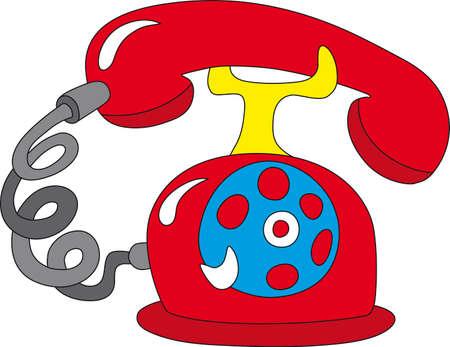 rotative: Vector illustration de la vieille rotative t�l�phone rouge Illustration