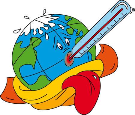 Vector illustration der globalen Erwärmung Illustration