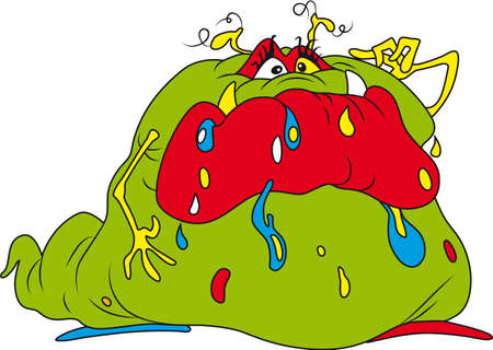 microbe: Vector illustration of ugly fat bacteria