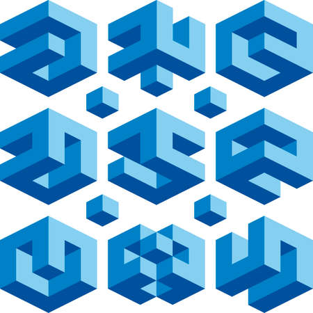 Blue Cube vector signs for construction business Vector