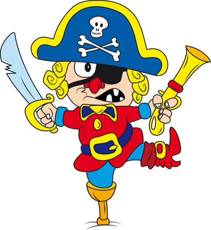 Vector illustration of drunken cartoon pirate Vector