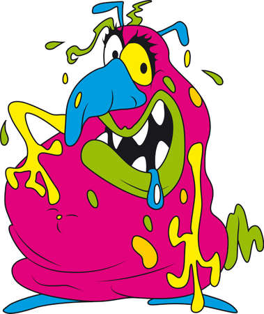 ugly: Vector illustration of ugly fat colorful bacteria
