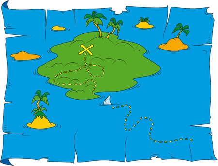 suspens: Cartoon illustration de carte aux tr�sors Illustration