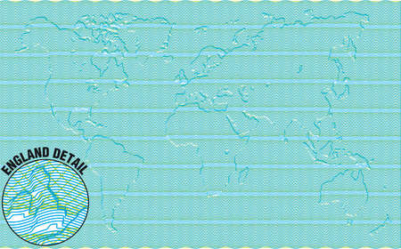 Secured Guilloche diploma with embossed world map background, elements are in layers for easy editing Vector