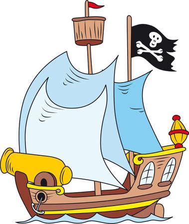 explore: Cartoon illustration of pirate ship Illustration