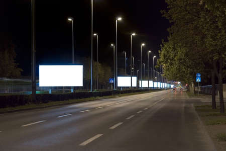 city lights: Empty billboards in the night Stock Photo