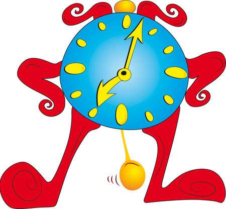 Old standing cartoon character clock Vector