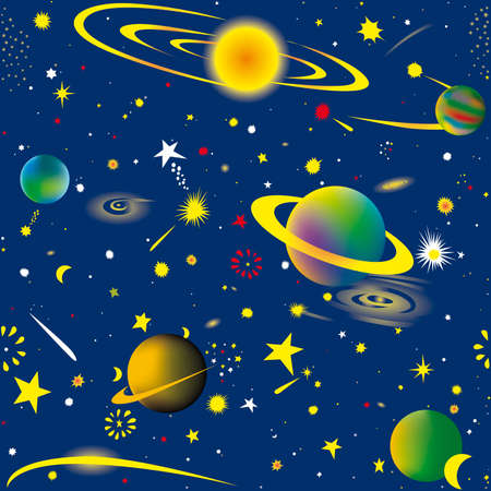 planetoid: Seamless vector illustration of fantasy cosmic sky wallpaper