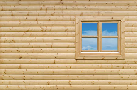 New Wooden cottage exterior facade wall background with closed window Stock Photo