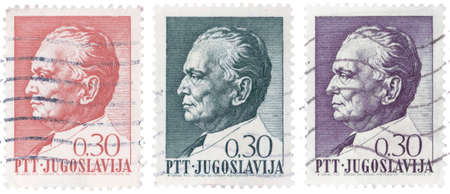 former: Three different vintage stamps of Josip Broz Tito, former Yugoslav communist revolutionary dictator