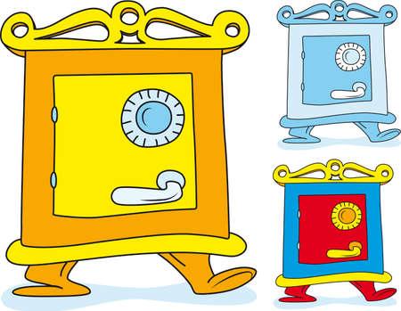 locked door: Cartoon illustration of Closed treasure safe deposit box