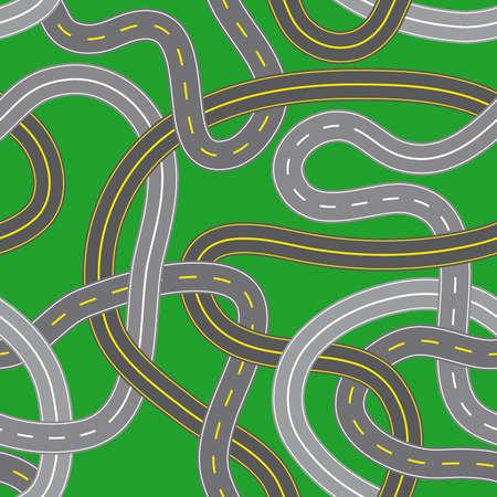 asphalt: Illustration of seamless crossroads