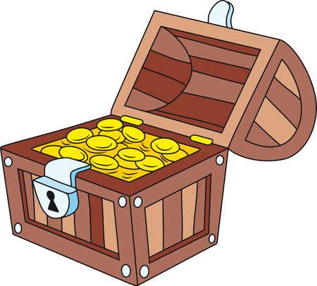treasure chest: Vector illustration of open wooden treasure chest