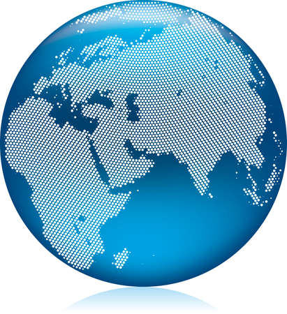 blue earth: Vector illustration of shiny blue Earth globe with round dots, Asia, Europe and Africa