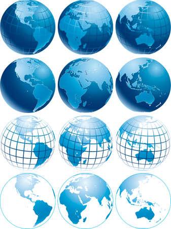 Vektor-Abbildung von drei verschiedenen glänzenden blauen Erde Globen mit verschiedenen aussehen