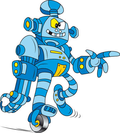 Vector illustration of Crazy blue brass robot character Vector