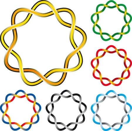 Vector illustration of six complex celtic knots circles Vector