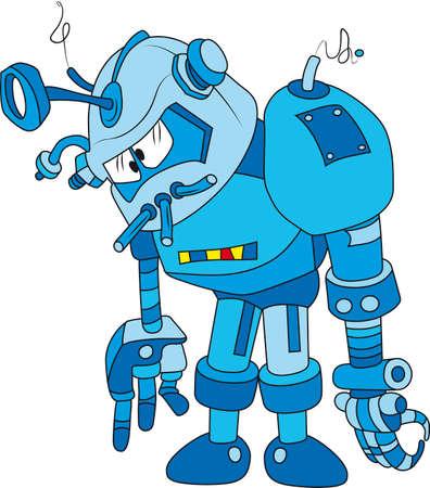 vicious: Vector illustration of broken blue brass robot character