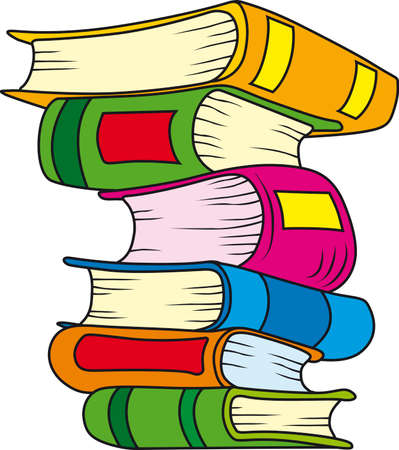 illustration of six books in stack Illustration