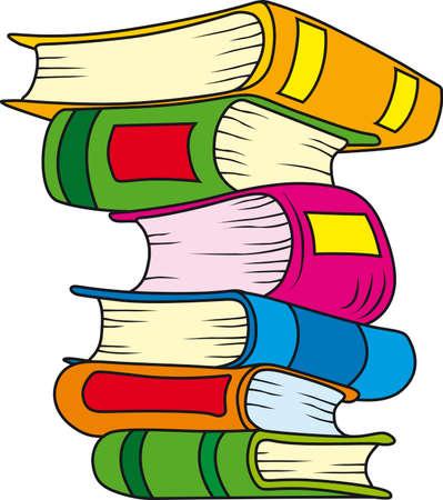 Illustration von sechs Büchern im stack
