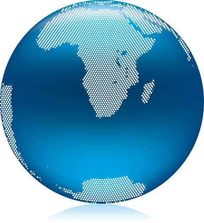 antartide: illustrazione del globo di terra blu brillante con rotonde puntini, emisfero Sud Africa e Antartide Vettoriali