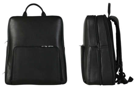 Two black leather travel bags photo