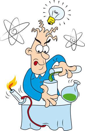 cientificos: Ilustraci�n del cient�fico Crazy Vectores