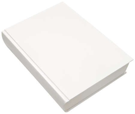note book: Empty white model of hard book cover isolated Stock Photo