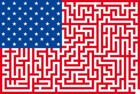 overseas: Ilustraci�n abstracta de la bandera americana laberinto