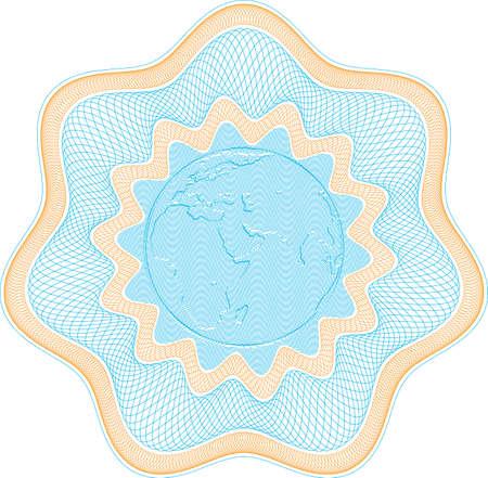 Guilloch Rosette mit geprägte Welt gesichert, sind Elemente in Ebenen für die einfache Bearbeitung  Illustration