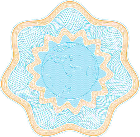 Secured Guilloche rosette with embossed globe, elements are in layers for easy editing Vector
