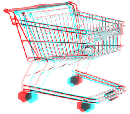 3D Anaglyph of shopping trolley isolated on white background, for viewing stereo glasses are needed Stock Photo - 7827298