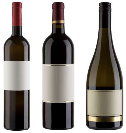 bottle of wine: Three unlabeled wine bottles isolated  Stock Photo