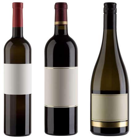 bouteille de vin: Trois bouteilles de vin non �tiquet�s isol�s  Banque d'images