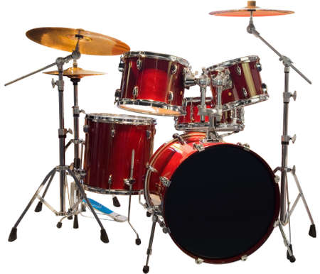 Satz von rot-Schlagzeug Standard-Bild