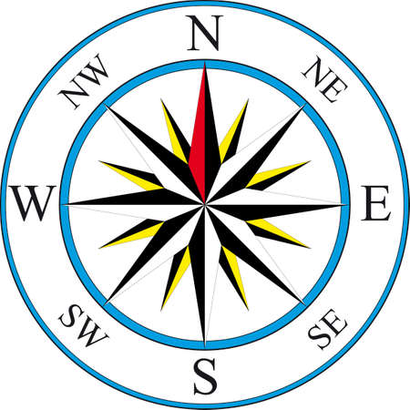 navigate: illustration of simple compass Illustration
