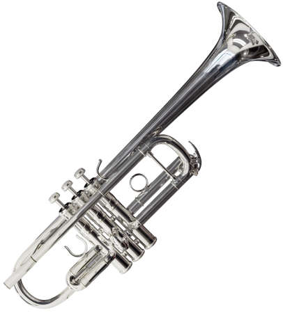 Silver trumpet isolated on white background Stock Photo