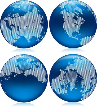 shiny blue Earth globe with round dots on northern hemisphere Stock Vector - 8404486