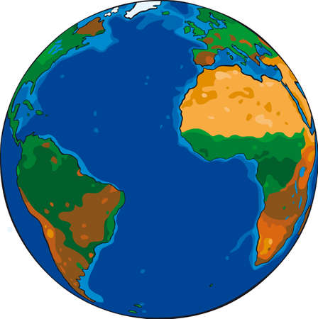cartoon earth: Cartoon Vector drawing of the planet earth Illustration