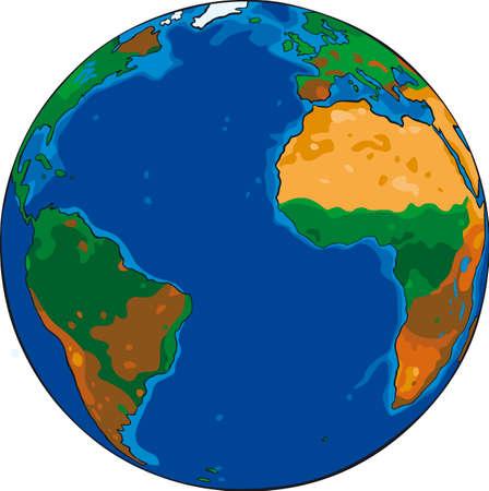 tierra caricatura: Vector de dibujos animados de dibujo de la tierra del planeta