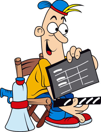 starting a business: Funny comic character as movie director isolated on white background