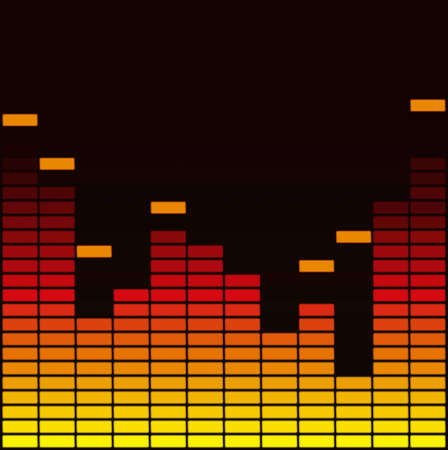 Yellow and red sound equalizer isolated on black background Vector