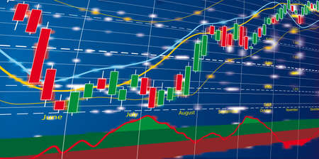 foreign trade: Vector illustration of Forex growth candlestick diagram Illustration