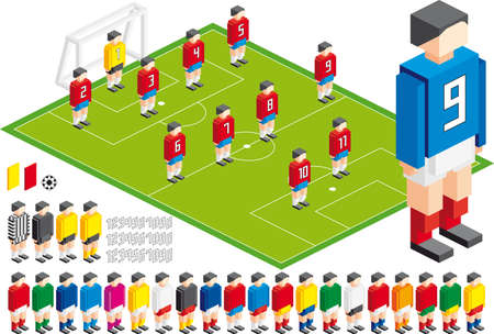 pixel art: Vector illustration of Soccer tactical Kit, elements are in layers for easy editing