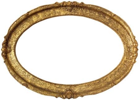 ovalo: Marco de la imagen de oro aisladas sobre fondo blanco