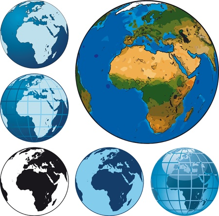 Set of different vector earth globes Vector