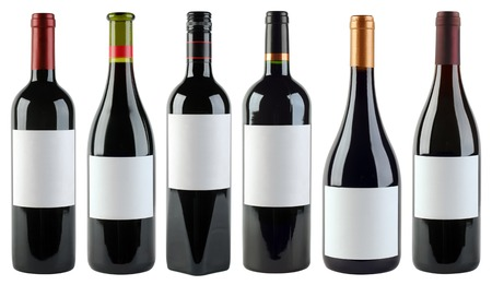 unlabeled: Unlabeled Wine Bottles Isolated With Clipping Path