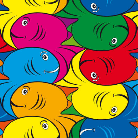 Seamles Fish Tessellation Texture Pattern Vector