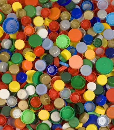 plastico pet: Colorfoul plástico tapones de botellas Foto de archivo